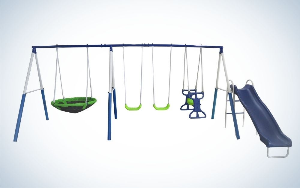 An outdoor play area which is structured with several white and blue metals with two legs, as well as two slides, a slide and a circular blue slider to sit inside.