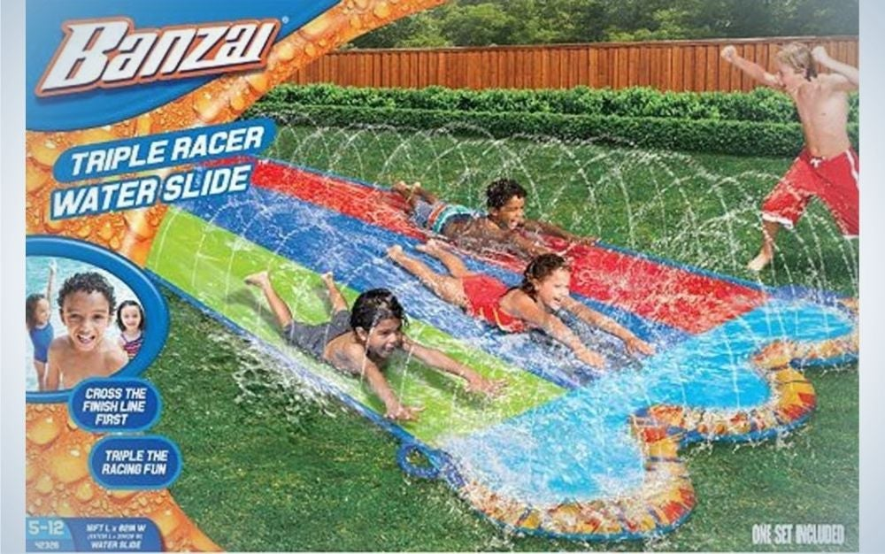 An advertisement and the cover of a children's colored slide, with a picture of children sliding on it.
