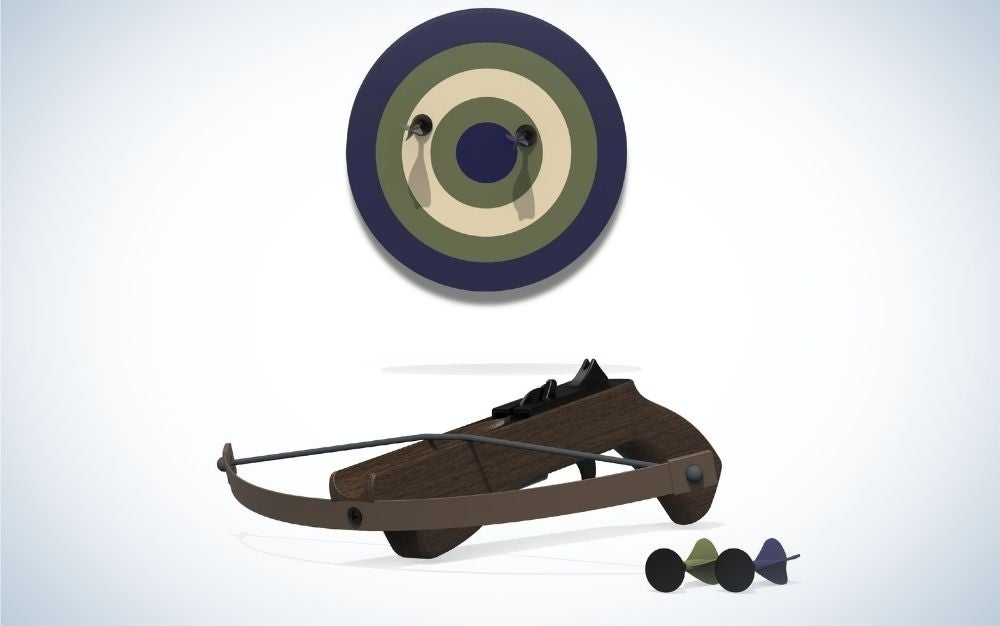 A bow to shoot with arrows and brown as well as a shooting circle of different colors.