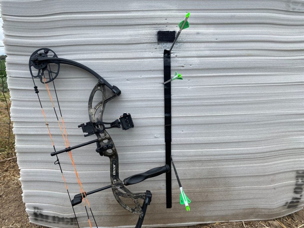 Bear Cruzer G2 leaning against target with arrows in it