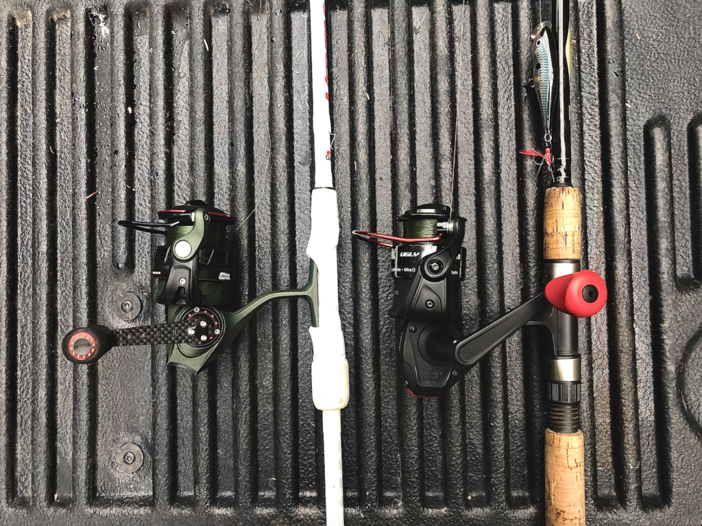 Abu Garcia Zata fishing reel on the left and the Ugly Stik Ugly Tuff reel on the right