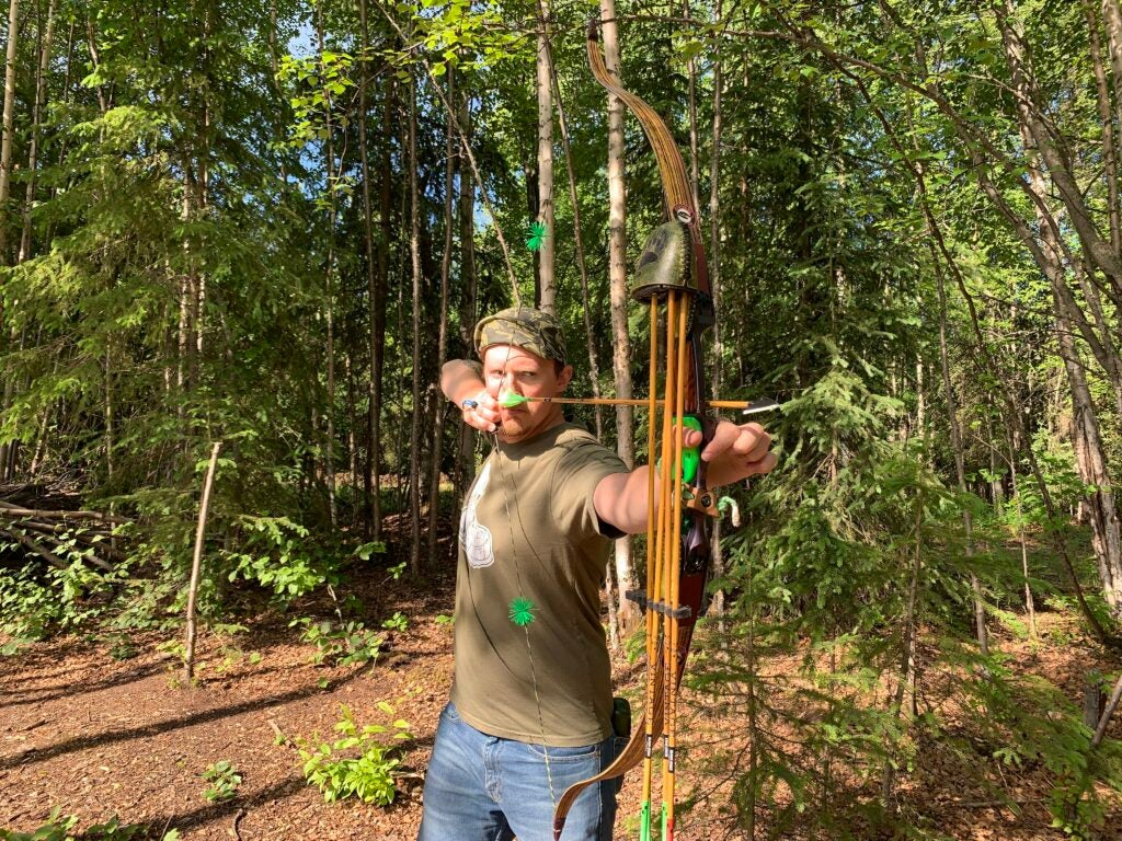 shooting a traditional bow