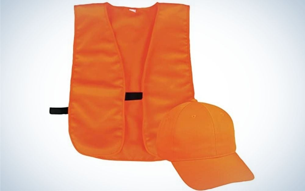An orange neon vest with a black belt in the middle as well as an orange hat as well.