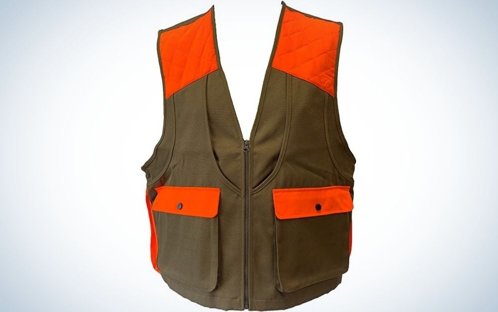 An orange and olive vest with two large front pockets.