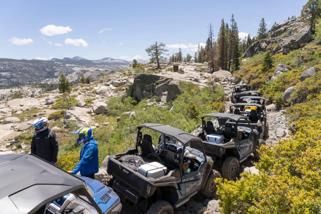 Drivers pause along the Rubicon trail.