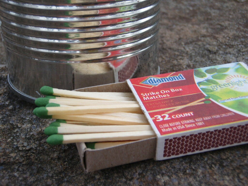 Use a magnifying glass with matches
