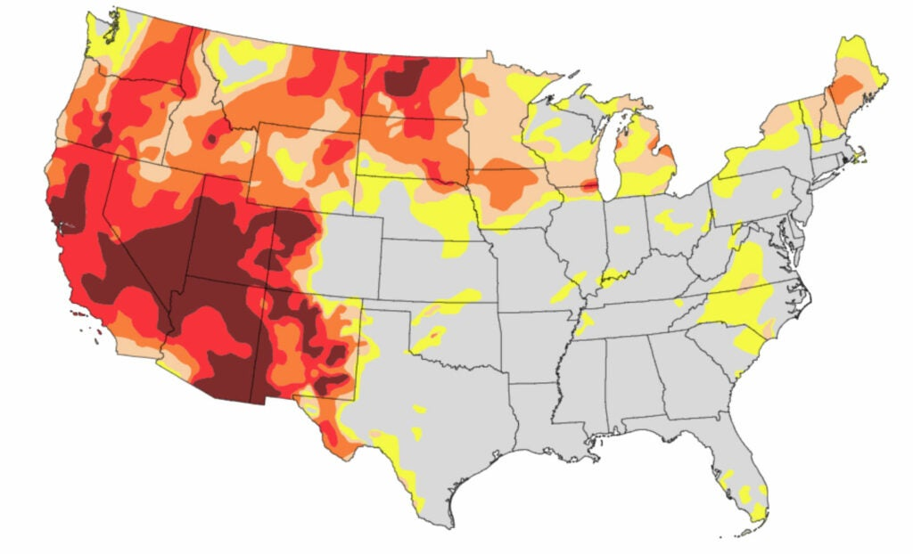 Drought severity in the west