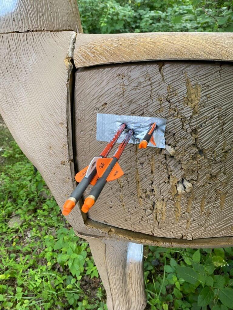 Ravin R10 arrows in deer target