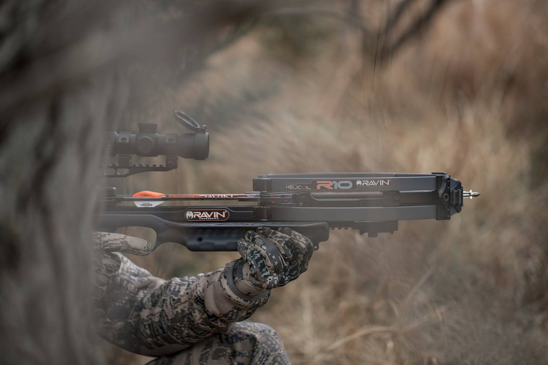 hunter shooting crossbow