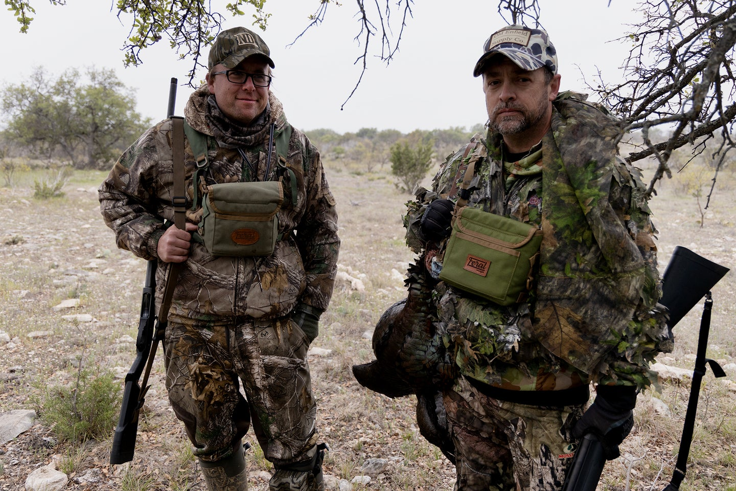 Two USMC turkey hunters with a good Rio tom in Texas.