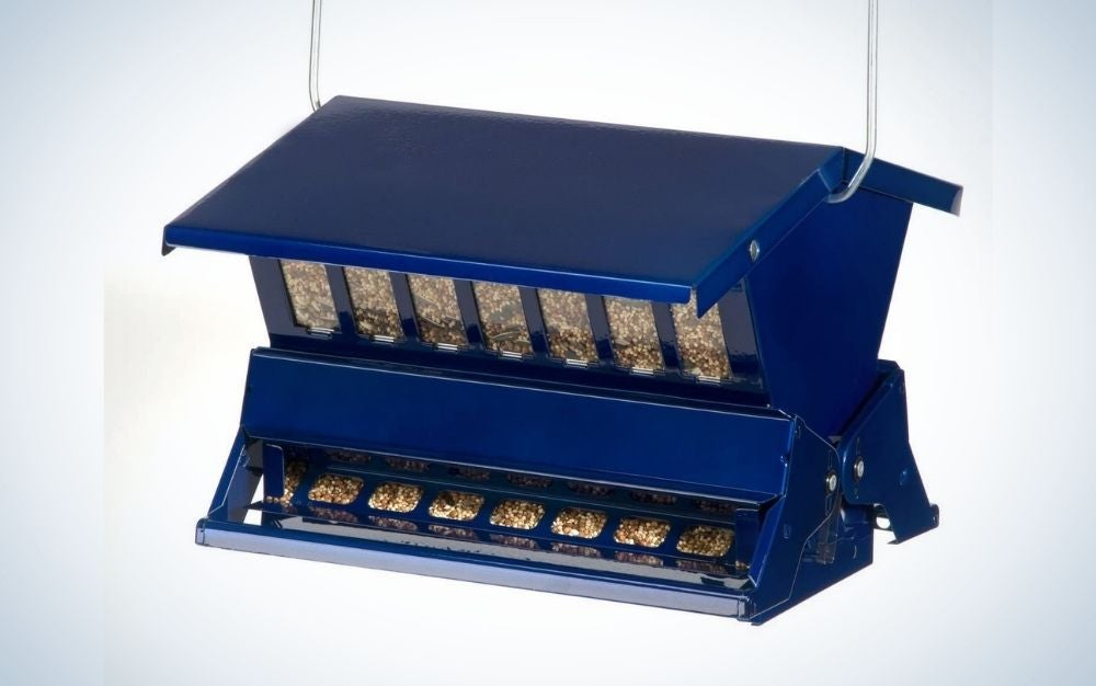 A place that serves to feed the birds is blue with two brown and a space with food in the form of windows.