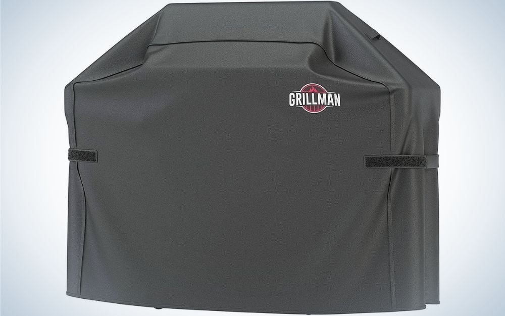 A rectangular bag, all black and with the brand name on it, which serves to cover different grills.
