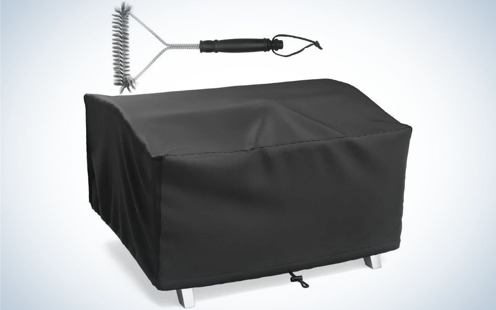 A black grill wrap, wide and square in shape as well as a brush with a silver head and black tail that helps prepare food on the grill.