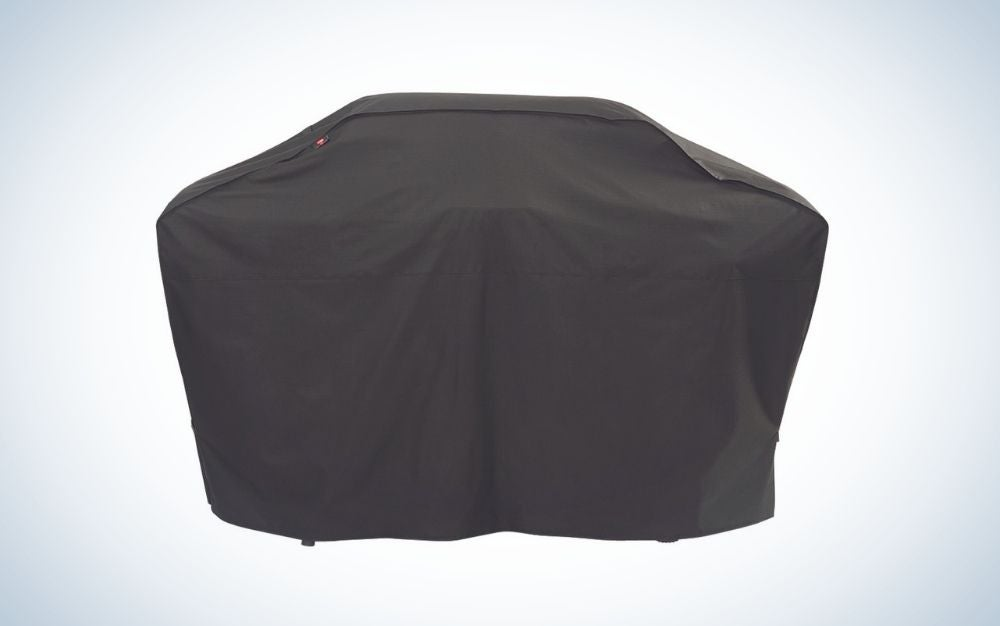 A rectangular bag, all black, which serves to cover different grills.
