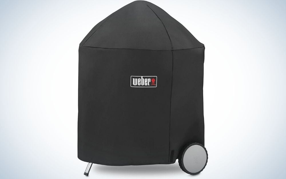 A rectangular bag, all black and long in color and with the brand name on it, which serves to cover various grilles, as well as a holder like a silver metal stick under it and a gray wheel as well.