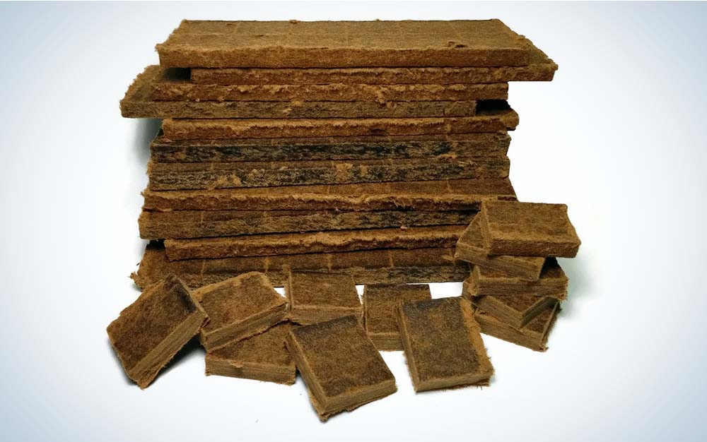 A stack of brown, rectangle fire starters