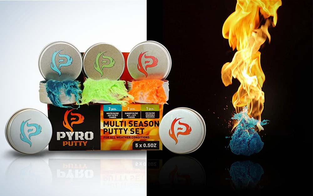Four silver tins of Pyro Putty next to blue Pyro Putty on fire against a black backdrop