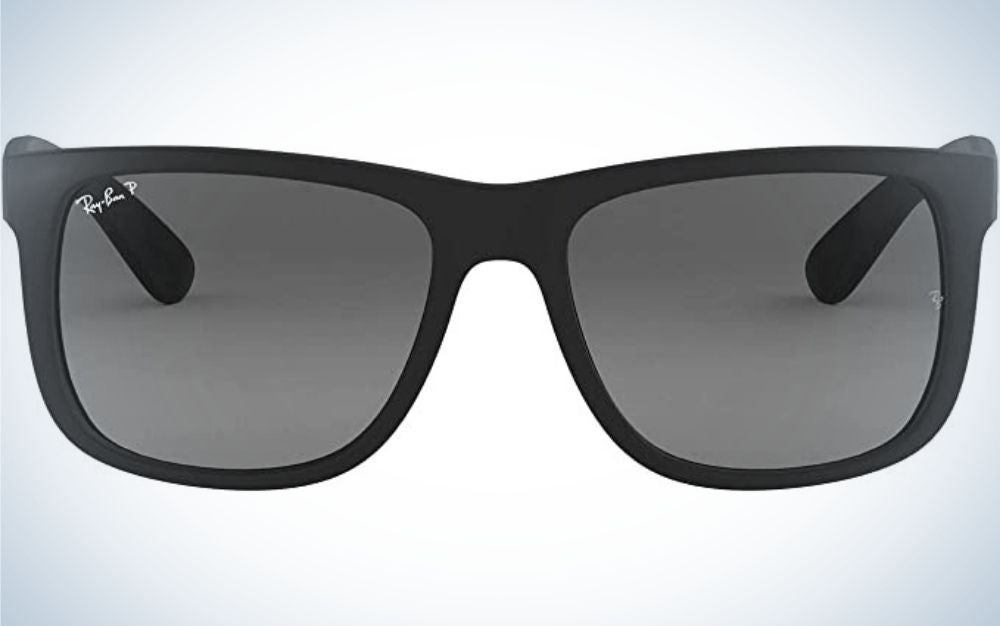 A pair of classic black glasses, with a square frame and light black glass.