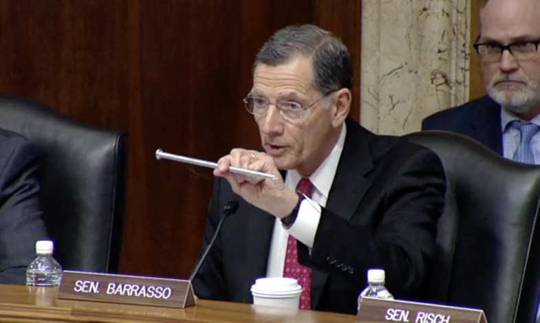 Sen. John Barrasso makes his opening remarks about Tracy Stone-Manning's involvement in a tree-spiking incident.