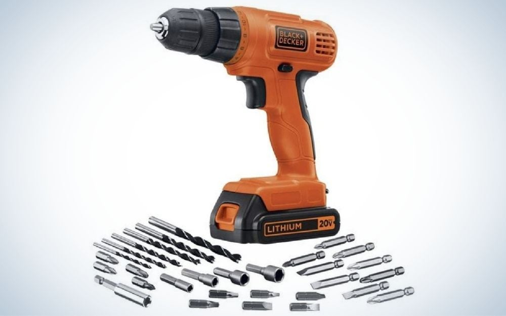 Black and orange, battery powered, cordless drill and driver kit with 30-piece accessories