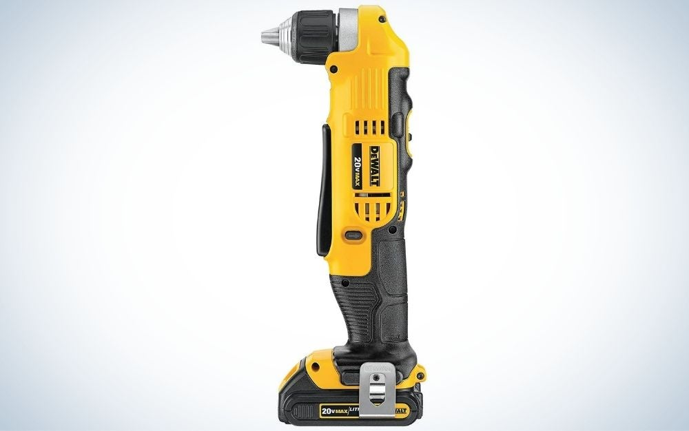 Black and yellow, right angle, cordless drill and driver kit