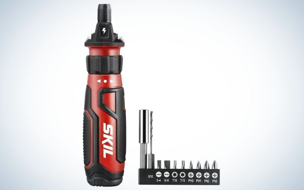 Red and black, cordless screwdriver with circuit sensor technology