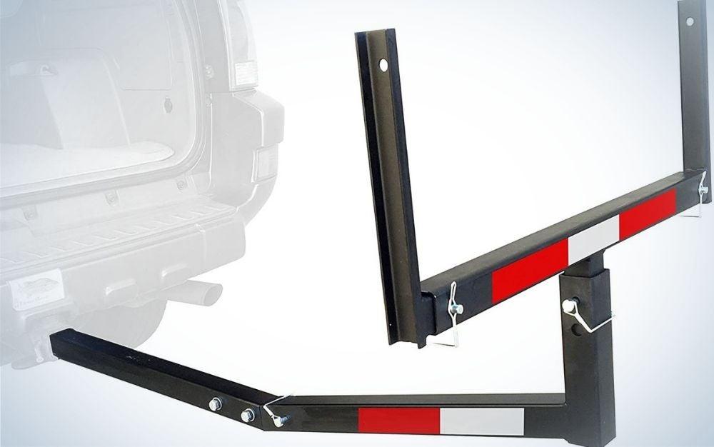 Black hitch mount truck bed extender