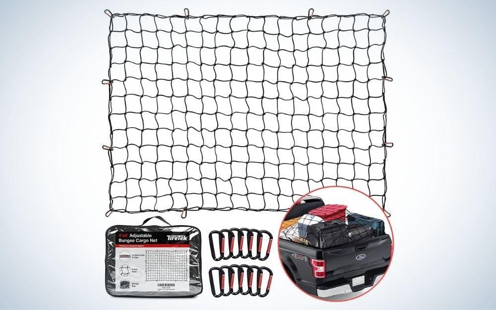 Net mesh with 12 metal carabiners truck bed extender