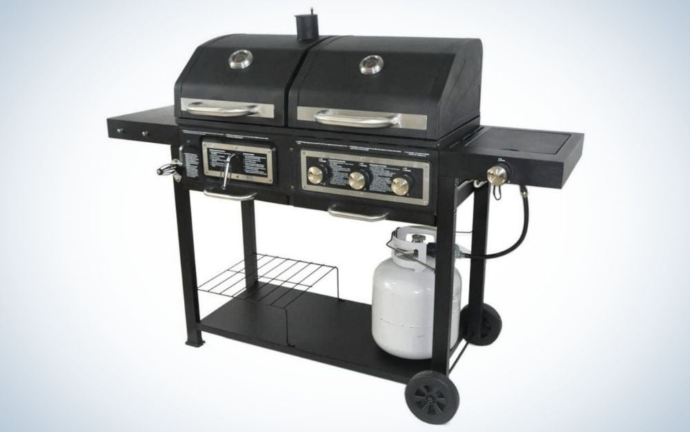 Black stainless steel, dual fuel, charcoal/gas grill