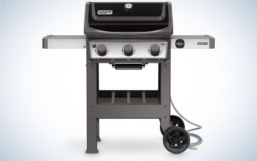 Black, 3-burner, natural gas grill