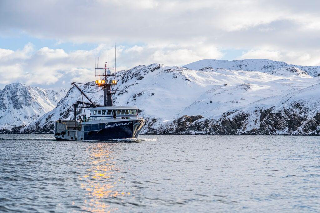 The Aleutian Endurance, a crabbing ship comes in to harbor.