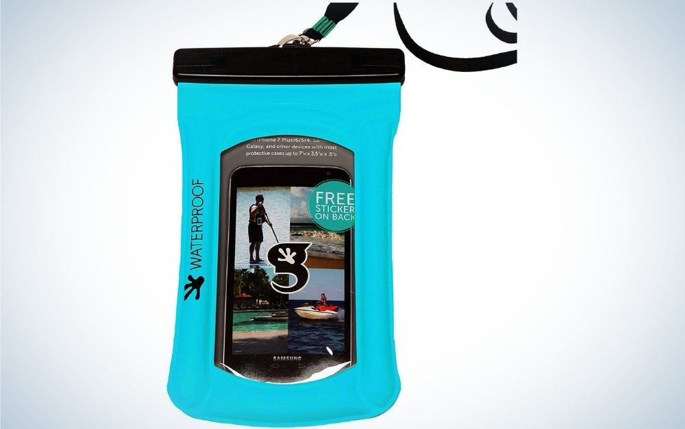 A large bag similar to a boxing bag which is blue with printed picture shades as well as with two black stripes and in the shape of a cylinder.