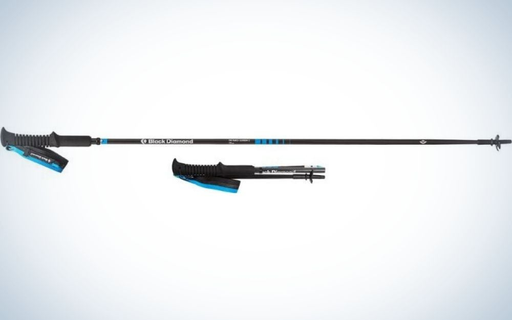 A trekking Pole black and blue, long and thin and with rubber support, as well as a small stick in the same shape but small size.