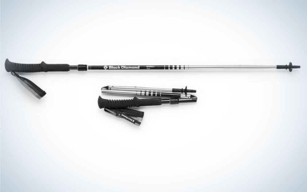 A trekking Pole black color long and thin and with rubber support, as well as a small stick in the same shape but small size.