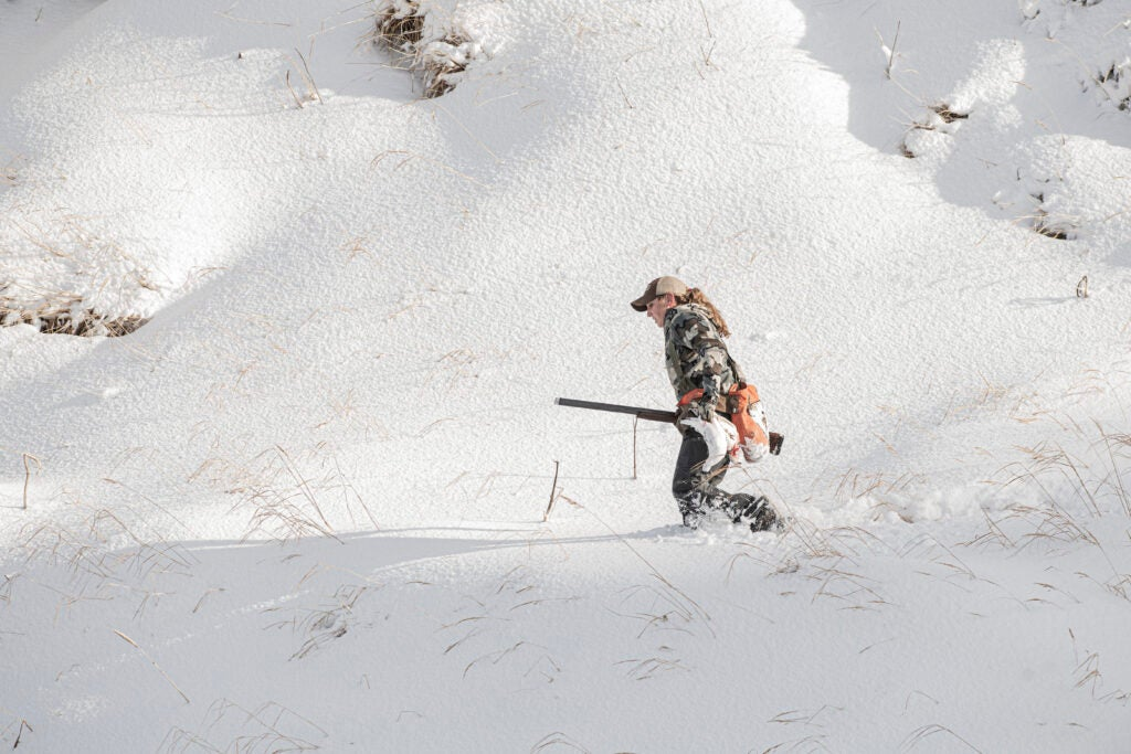 Hunting ptarmigan on Adak Island in Alaska