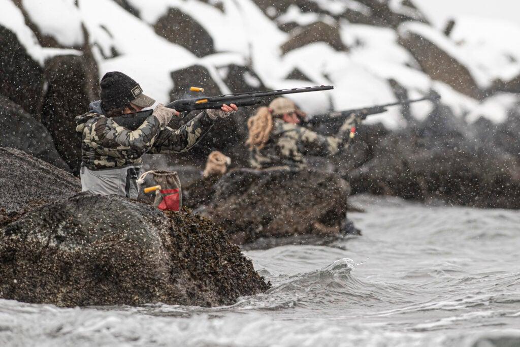 Sea duck hunters ripping shells on Adak Island.