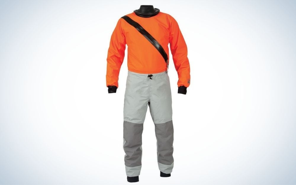Orange, grey, and black men's swift entry dry suit