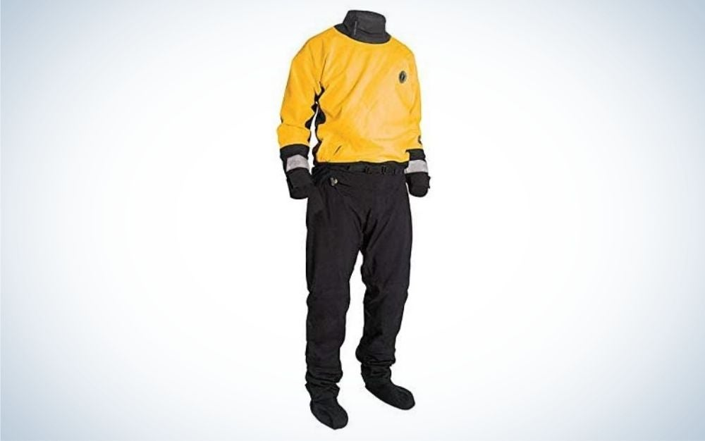 Yellow and black dry suit