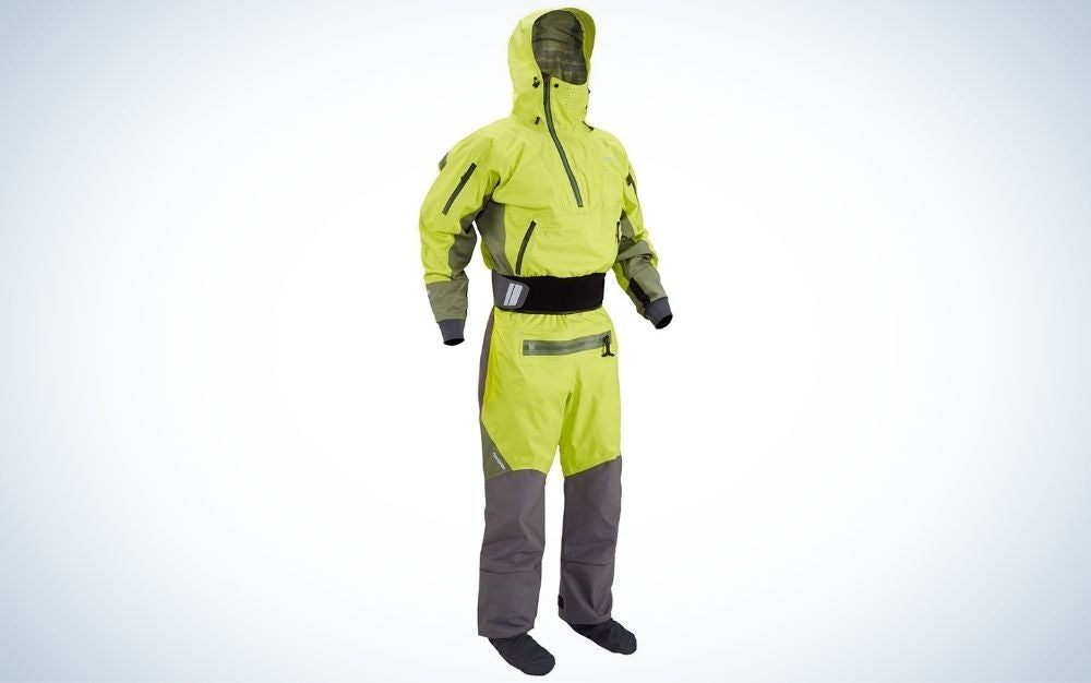 Lime and grey navigator paddling dry suit