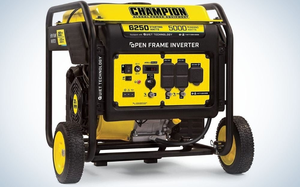 A large generator with the brand name Champion in black and yellow, all composed of pipes and motor with interconnected connections, as well as from below two black and yellow wheels.