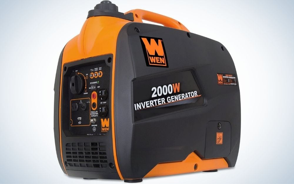 A Wen generator in the form of a large suitcase which is orange in color and with a black holder.