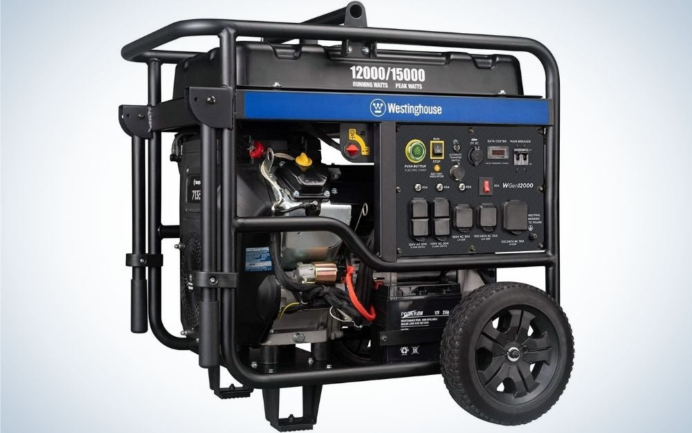 A large black generator with a blue line all consisting of pipes and motor with interconnected connections, as well as from below with a black wheel.