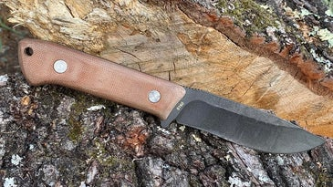 A bushcraft knife with a wooden handle laying on a stump