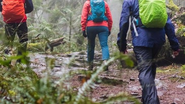 Hikers wearing waterproof pants.
