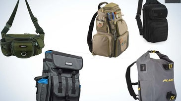 A collage of various fishing backpacks