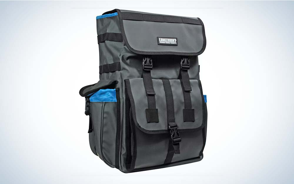 Grey backpack with front buckle pockets
