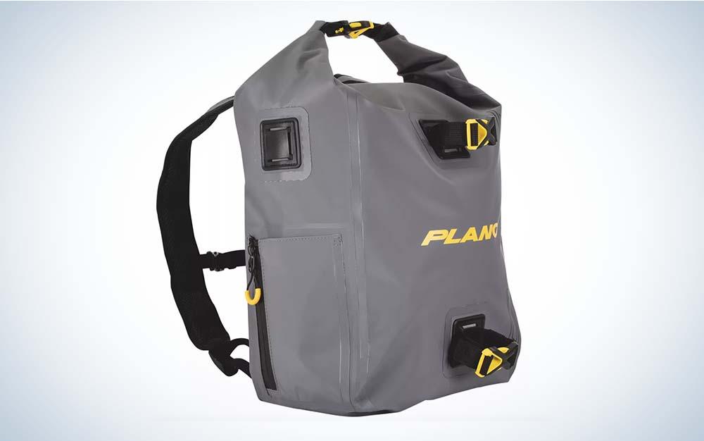 Grey waterproof fishing backpack