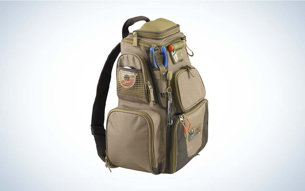 Tan angler backpack with ample pockets