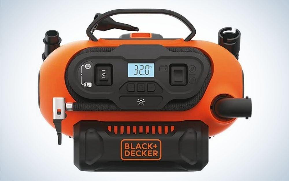 Orange and black, cordless tire inflator