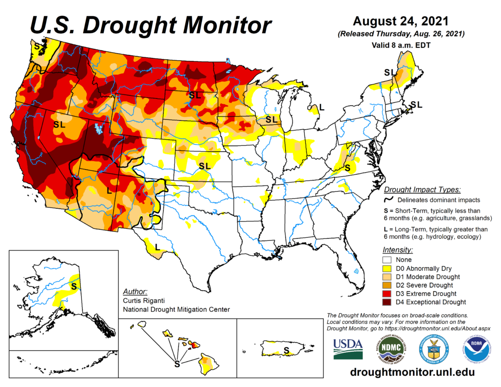 Western drought and high plains drought are a big problem.